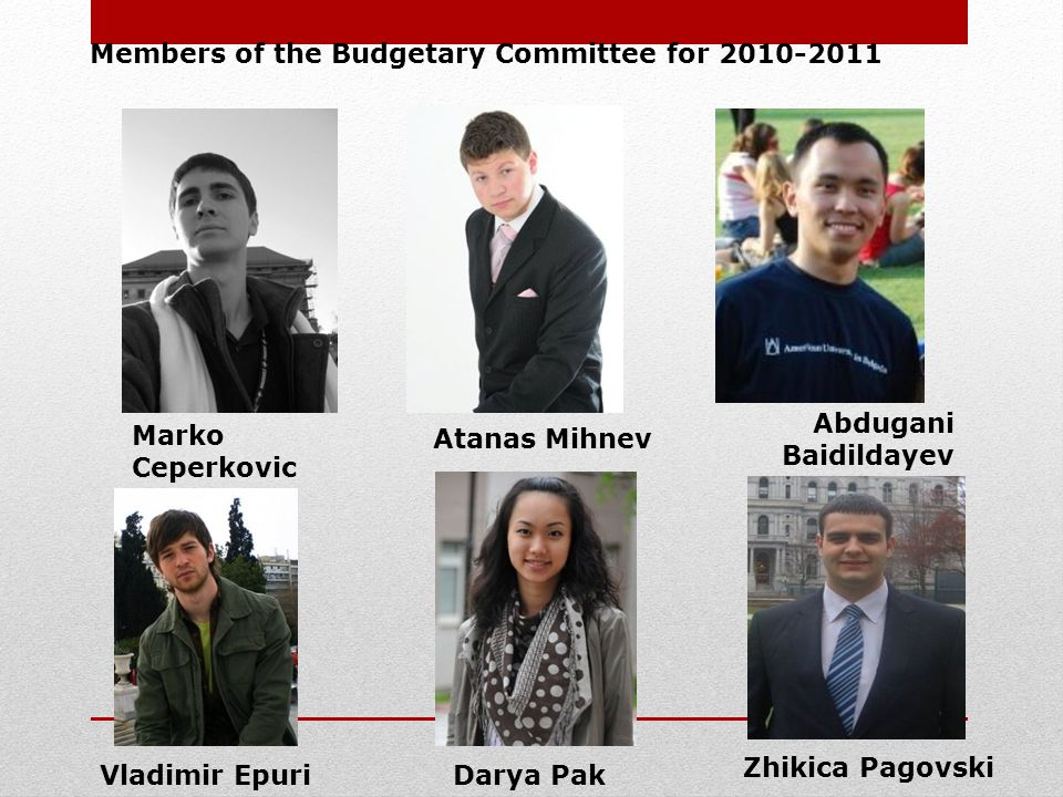Members of the Budgetary Committee for 2010-2011 Vladimir Epuri Darya Pak Marko Ceperkovic Atanas Mihnev Abdugani Baidildayev Zhikica Pagovski