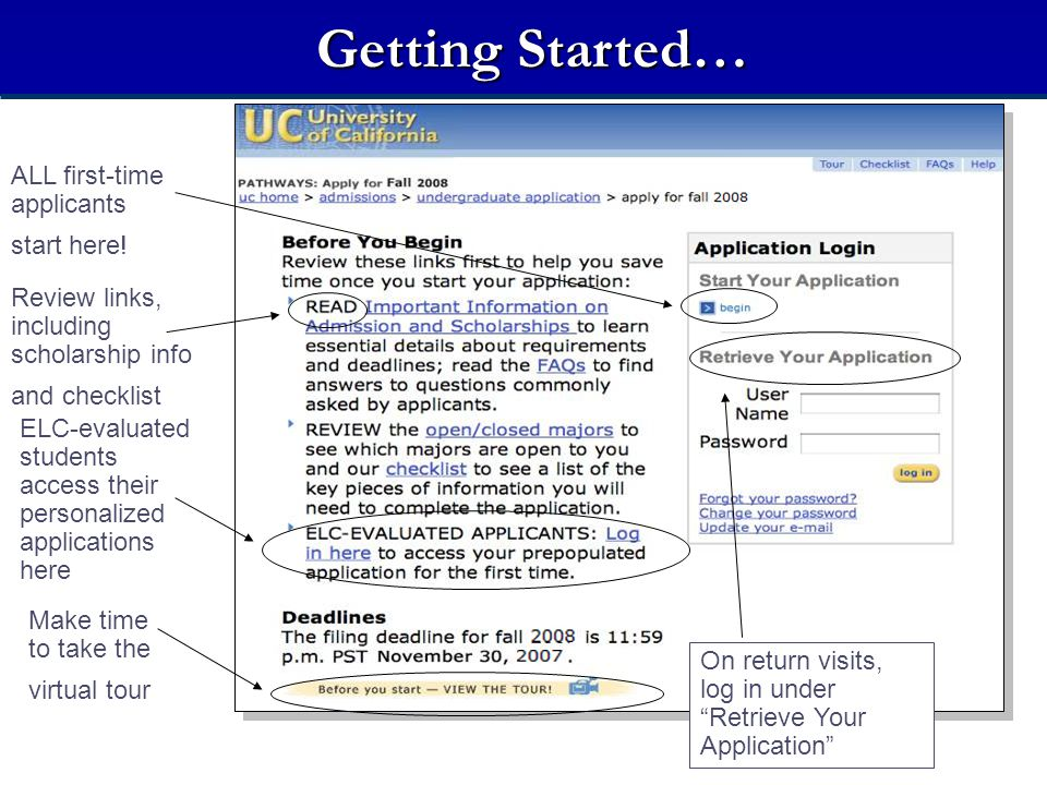 Getting Started… On return visits, log in under Retrieve Your Application ALL first-time applicants start here.