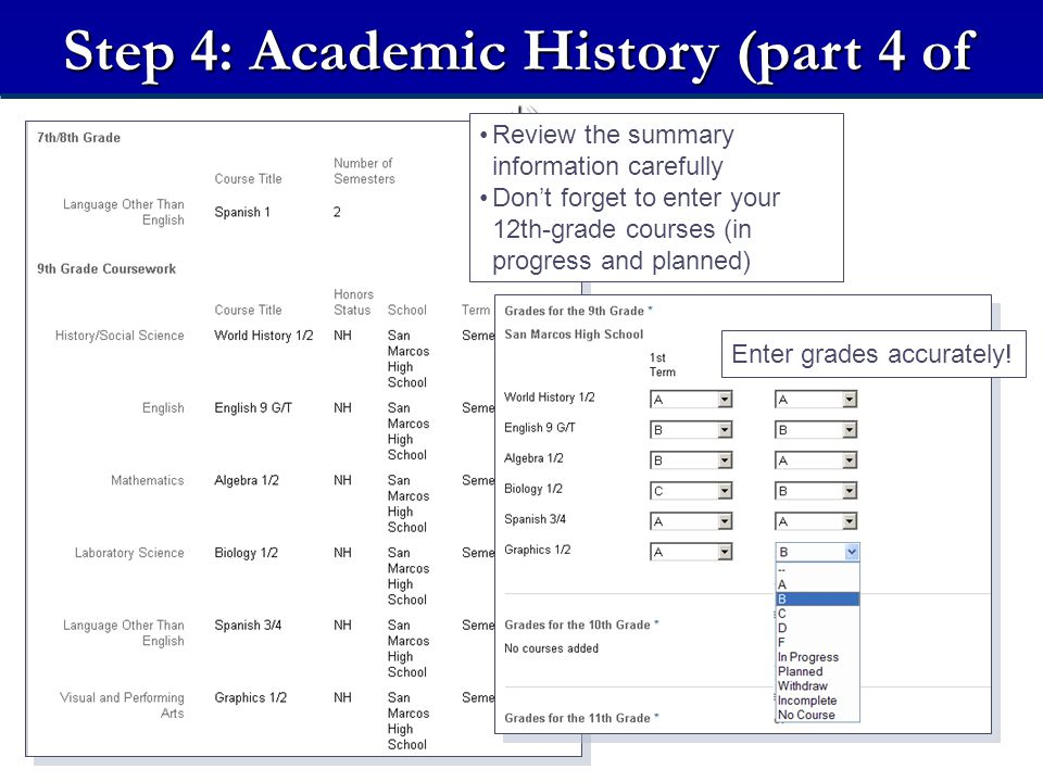 Step 4: Academic History (part 4 of 4) Review the summary information carefully Don't forget to enter your 12th-grade courses (in progress and planned) Enter grades accurately!