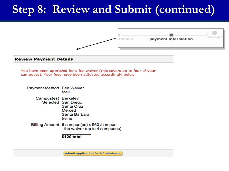 Step 8: Review and Submit (continued)