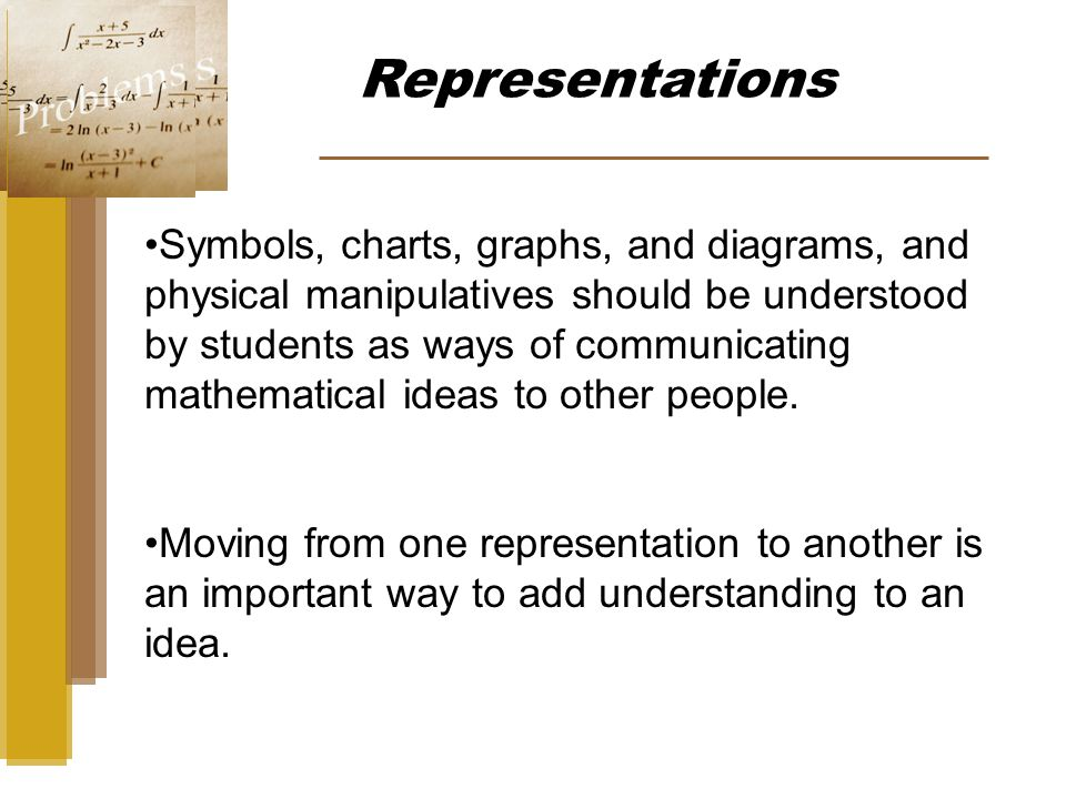 Representations Symbols, charts, graphs, and diagrams, and physical manipulatives should be understood by students as ways of communicating mathematical ideas to other people.