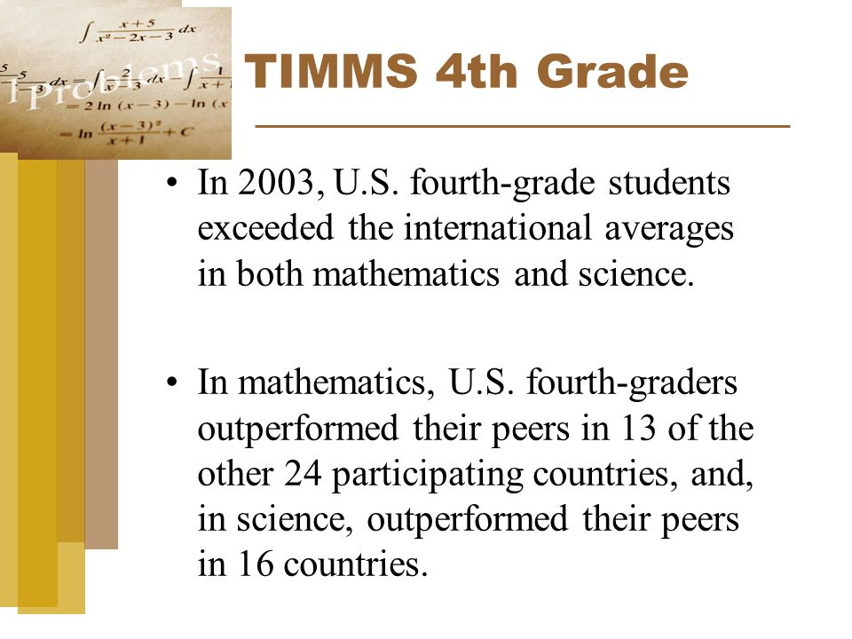 TIMMS 4th Grade In 2003, U.S.