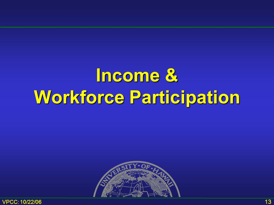 VPCC: 10/22/06 13 Income & Workforce Participation