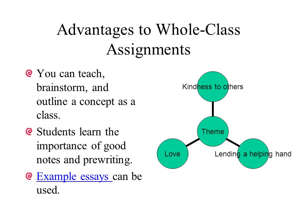 Advantages to Whole-Class Assignments You can teach, brainstorm, and outline a concept as a class. Students learn the importance of good notes and pre