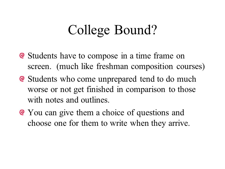 College Bound. Students have to compose in a time frame on screen.