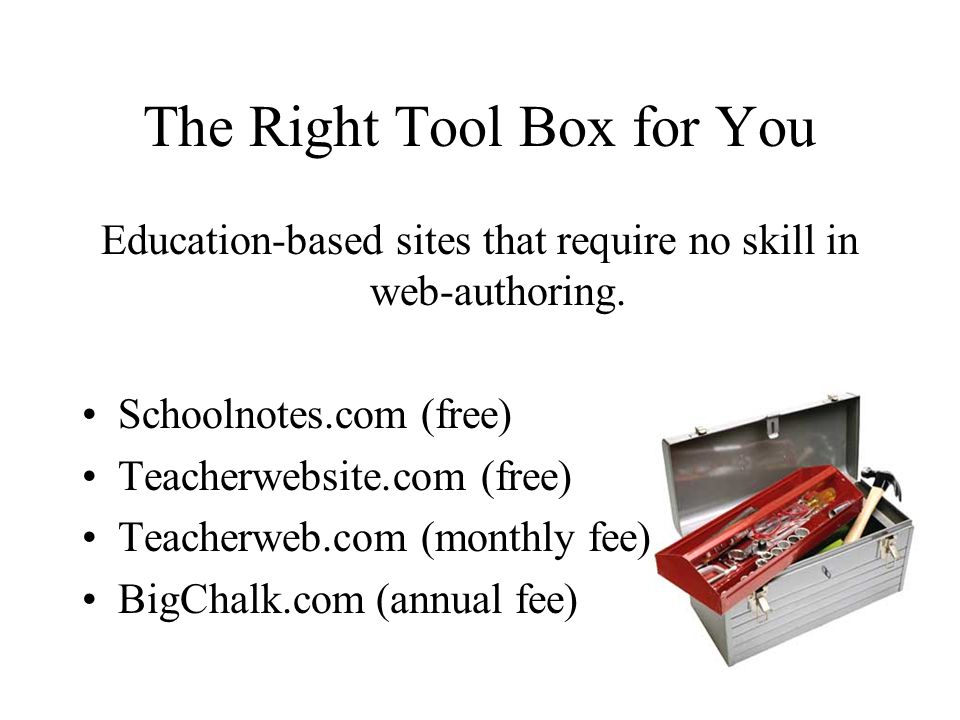 The Right Tool Box for You Education-based sites that require no skill in web-authoring. Schoolnotes.com (free) Teacherwebsite.com (free) Teacherweb.c