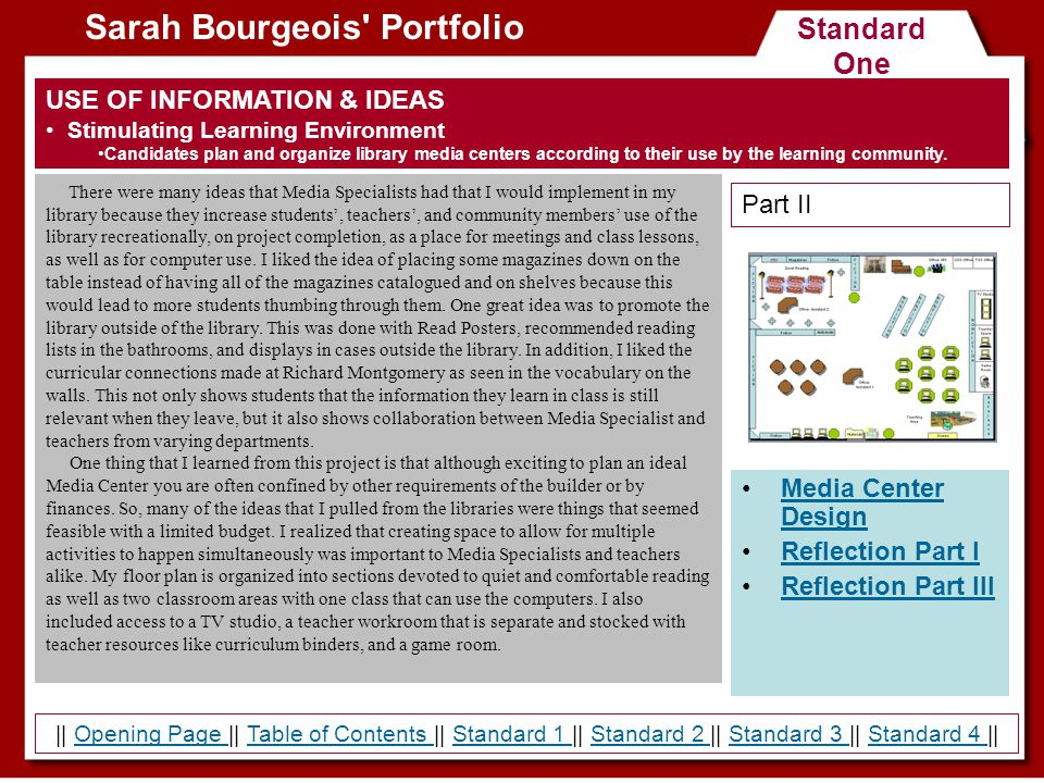 Standard One Sarah Bourgeois' Portfolio USE OF INFORMATION & IDEAS Stimulating Learning Environment Candidates plan and organize library media centers