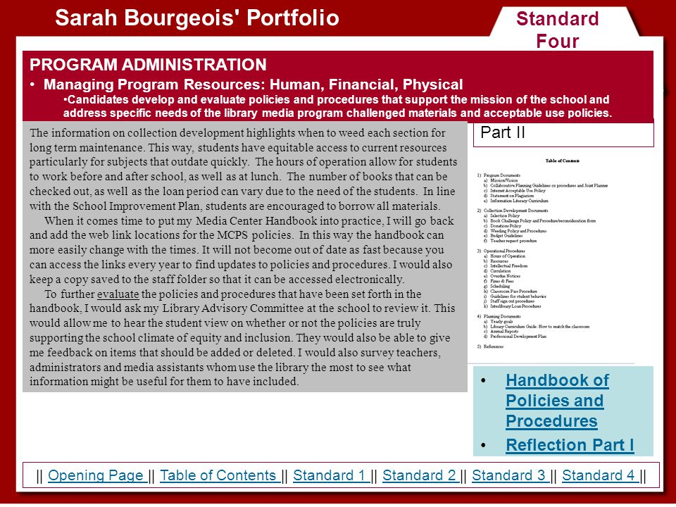 Standard Four Sarah Bourgeois' Portfolio Handbook of Policies and ProceduresHandbook of Policies and Procedures Reflection Part I PROGRAM ADMINISTRATI