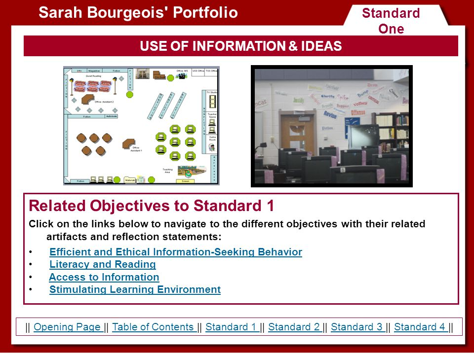 Standard Two Teaching and Learning Sarah Bourgeois Portfolio Related Objectives to Standard 2 Click on the links below to navigate to the different objectives with their related artifacts and reflection statements: Knowledge of Learners and Learning Effective and Knowledgeable Teacher Information Literacy Curriculum || Opening Page || Table of Contents || Standard 1 || Standard 2 || Standard 3 || Standard 4 ||Opening Page Table of Contents Standard 1 Standard 2 Standard 3 Standard 4