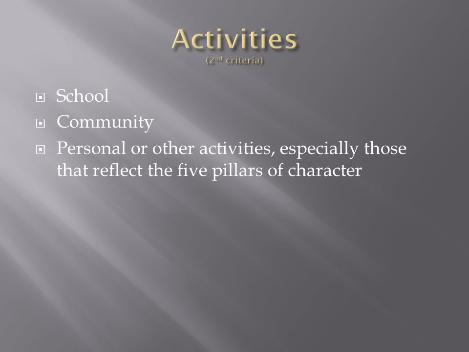  School  Community  Personal or other activities, especially those that reflect the five pillars of character
