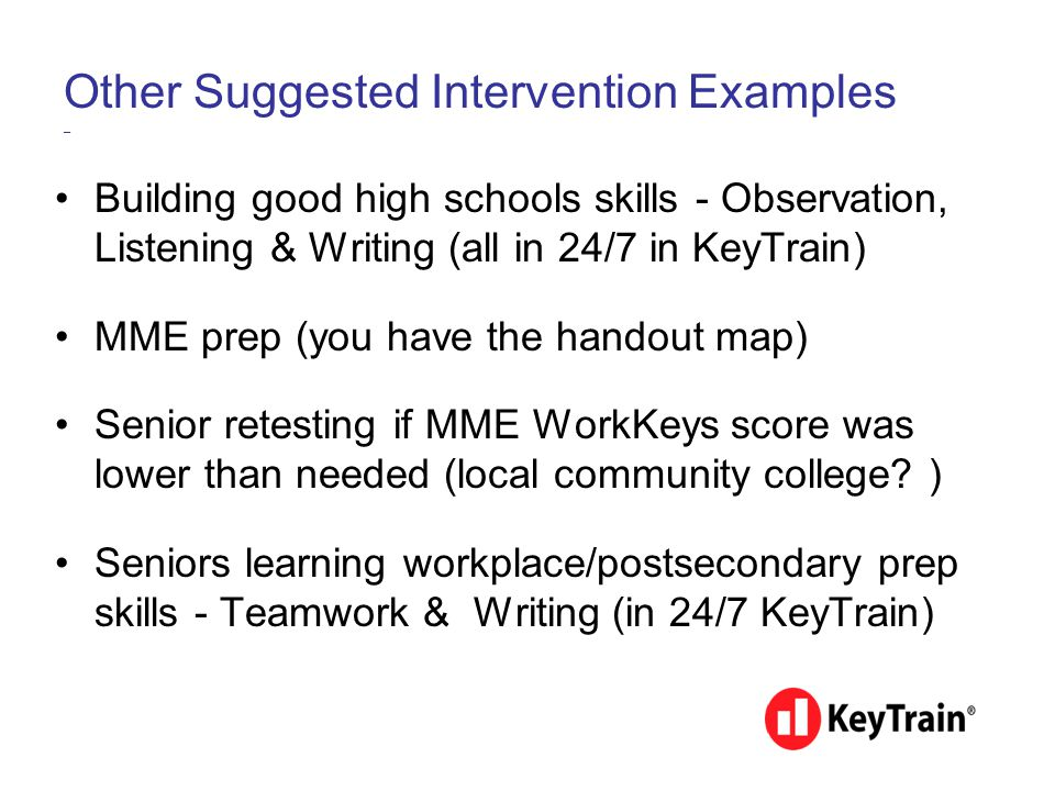 Other Suggested Intervention Examples _ Building good high schools skills - Observation, Listening & Writing (all in 24/7 in KeyTrain) MME prep (you h