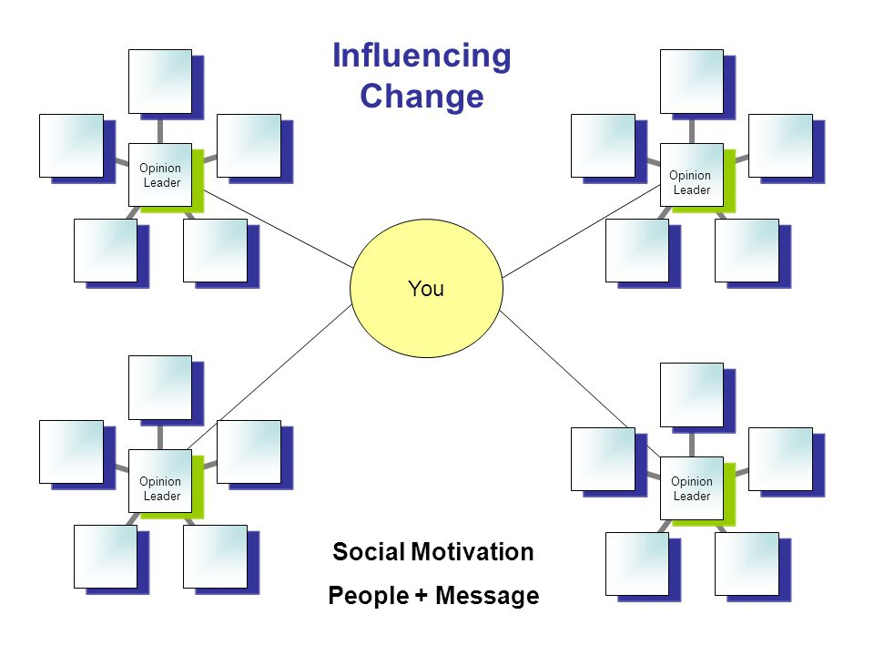 Opinion Leader Opinion Leader Opinion Leader Opinion Leader You Influencing Change Social Motivation People + Message