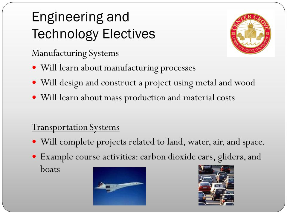 Engineering and Technology Electives Manufacturing Systems Will learn about manufacturing processes Will design and construct a project using metal and wood Will learn about mass production and material costs Transportation Systems Will complete projects related to land, water, air, and space.