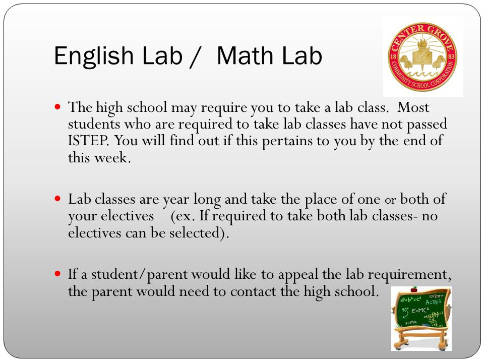 English Lab / Math Lab The high school may require you to take a lab class.