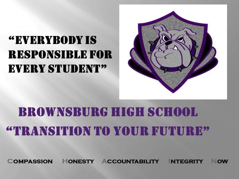 Compassion Honesty Accountability Integrity Now BROWNSBURG HIGH SCHOOL Transition to your future Everybody is Responsible for Every Student