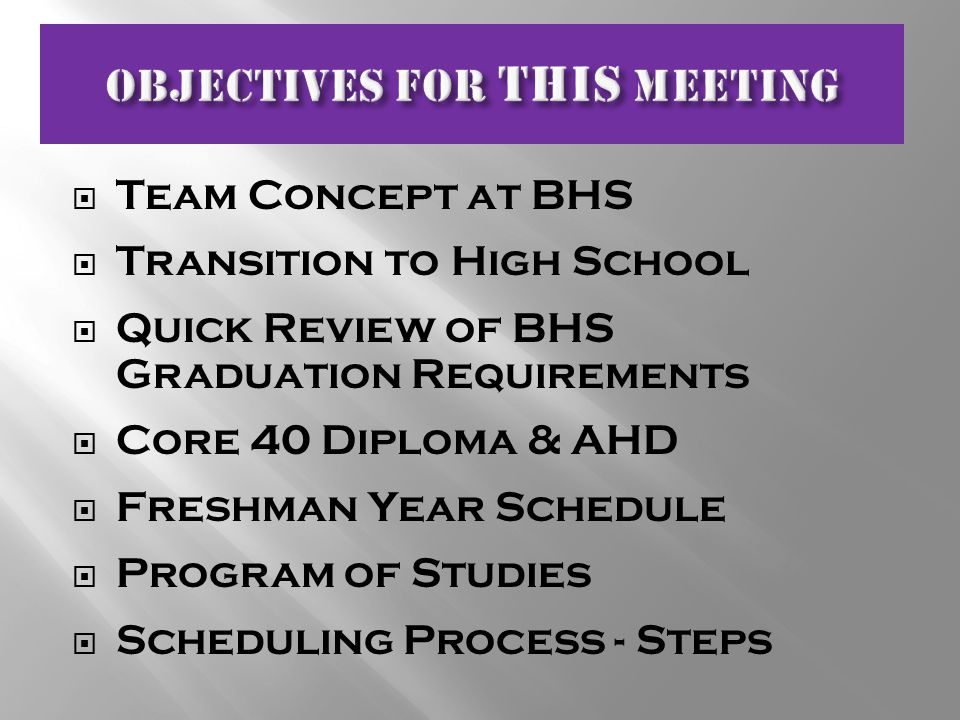  Team Concept at BHS  Transition to High School  Quick Review of BHS Graduation Requirements  Core 40 Diploma & AHD  Freshman Year Schedule  Program of Studies  Scheduling Process - Steps