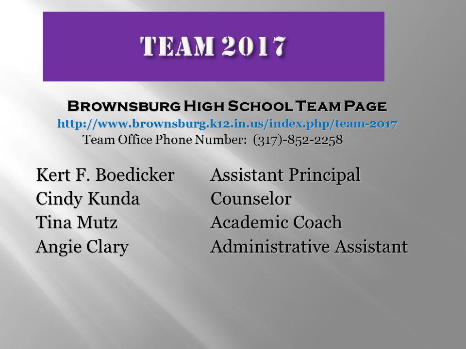 Brownsburg High School Team Page http://www.brownsburg.k12.in.us/index.php/team-2017 Team Office Phone Number: (317)-852-2258 Kert F.