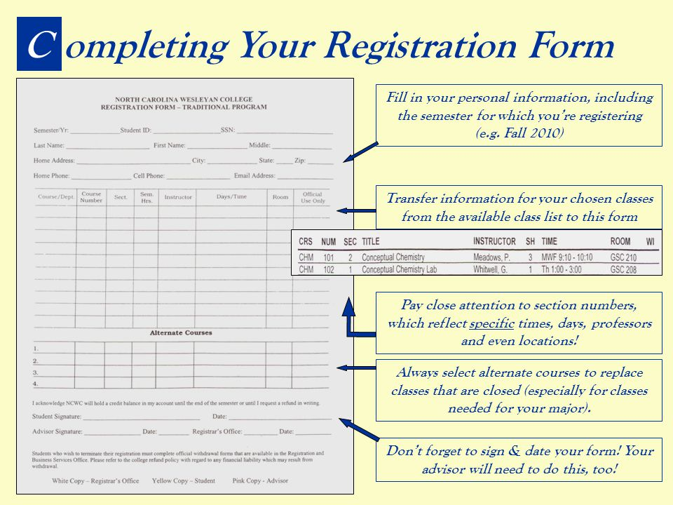 Completing Your Registration Form Transfer information for your chosen classes from the available class list to this form Pay close attention to section numbers, which reflect specific times, days, professors and even locations.