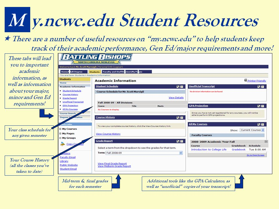 My.ncwc.edu Student Resources  There are a number of useful resources on my.ncwc.edu to help students keep track of their academic performance, Gen Ed/major requirements and more.
