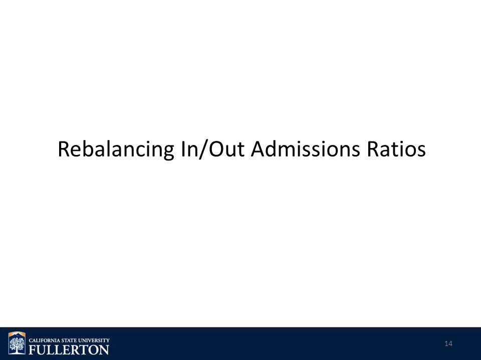 Rebalancing In/Out Admissions Ratios 14