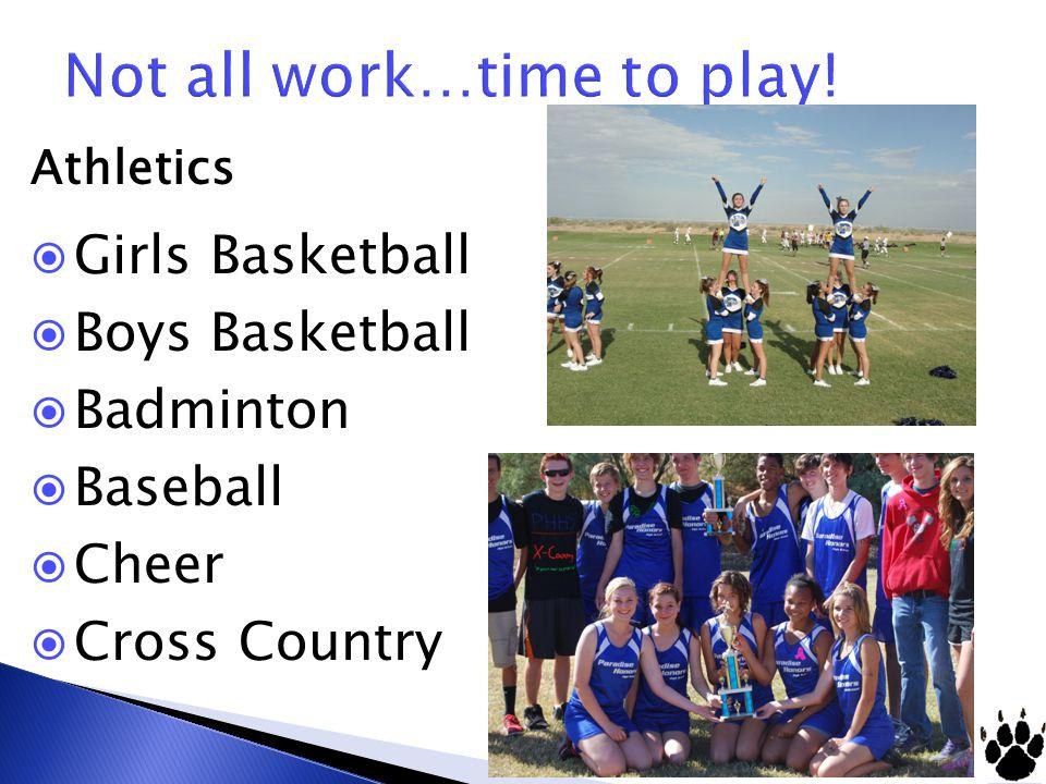 Athletics  Girls Basketball  Boys Basketball  Badminton  Baseball  Cheer  Cross Country