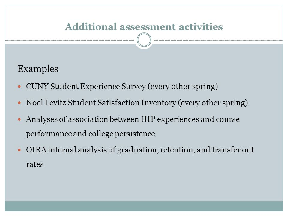 Additional assessment activities Examples CUNY Student Experience Survey (every other spring) Noel Levitz Student Satisfaction Inventory (every other spring) Analyses of association between HIP experiences and course performance and college persistence OIRA internal analysis of graduation, retention, and transfer out rates