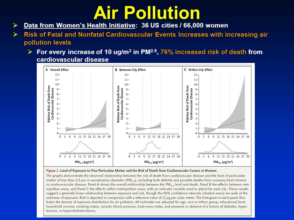 Air Pollution  Data from Women's Health Initiative: 36 US cities / 66,000 women  Risk of Fatal and Nonfatal Cardiovascular Events Increases with increasing air pollution levels  For every increase of 10 ug/m 3 in PM 2.5, 76% increased risk of death from cardiovascular disease