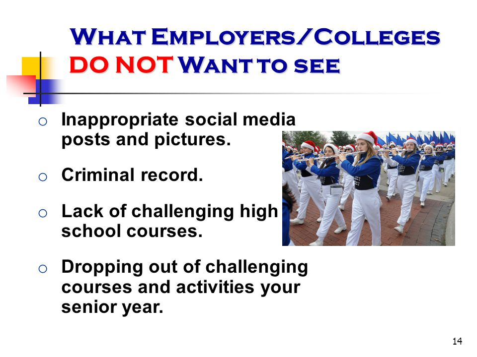 14 o Inappropriate social media posts and pictures. o Criminal record. o Lack of challenging high school courses. o Dropping out of challenging course