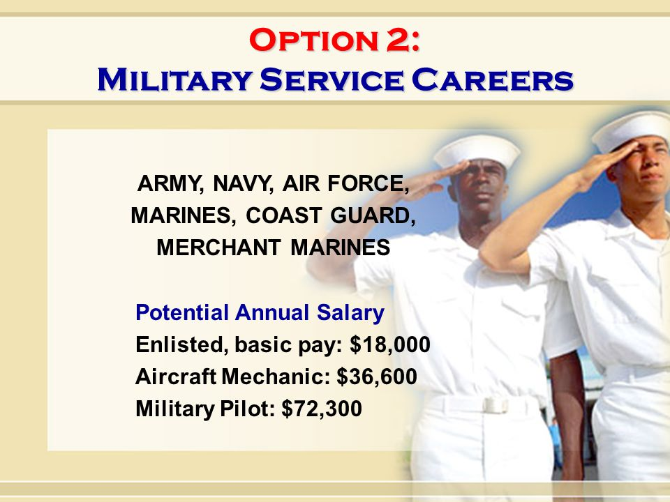 20 Option 2: Military Service Careers ARMY, NAVY, AIR FORCE, MARINES, COAST GUARD, MERCHANT MARINES Potential Annual Salary Enlisted, basic pay: $18,0