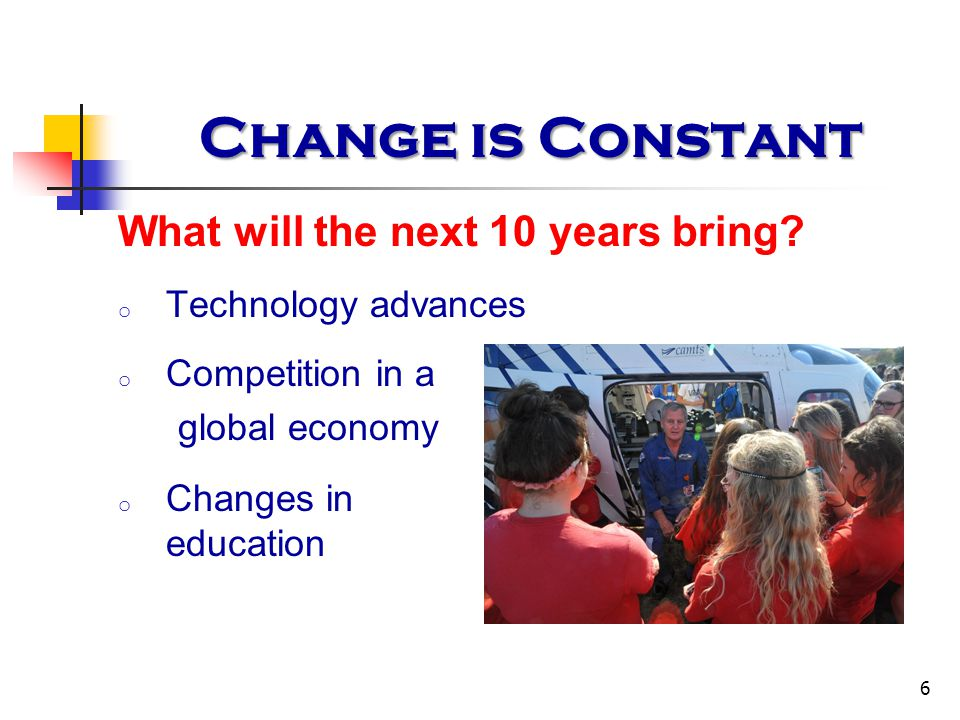 Change is Constant 6 What will the next 10 years bring? o Technology advances o Competition in a global economy o Changes in education