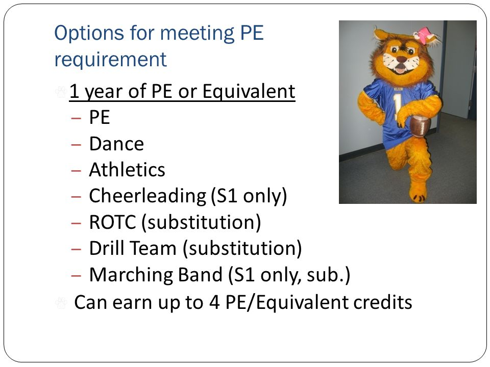 Options for meeting PE requirement 1 year of PE or Equivalent – PE – Dance – Athletics – Cheerleading (S1 only) – ROTC (substitution) – Drill Team (substitution) – Marching Band (S1 only, sub.) Can earn up to 4 PE/Equivalent credits
