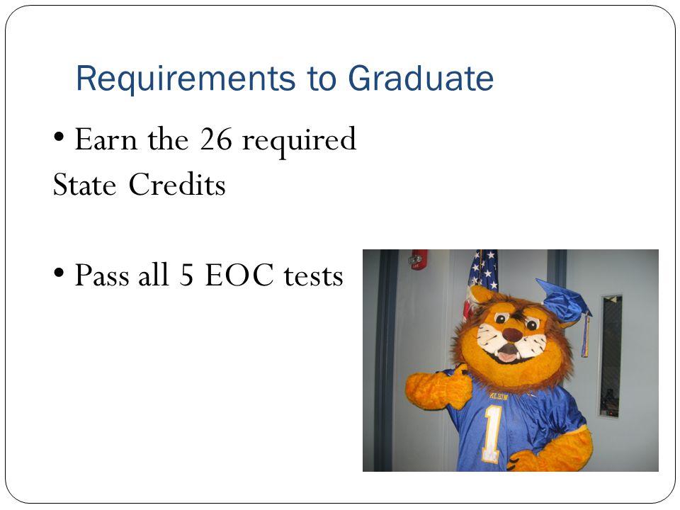 Required 5 EOC Tests Algebra 1 English 1 English 2 Biology US History