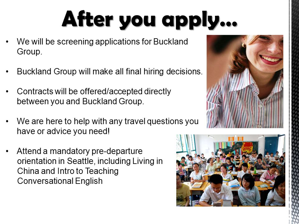 We will be screening applications for Buckland Group. Buckland Group will make all final hiring decisions. Contracts will be offered/accepted directly
