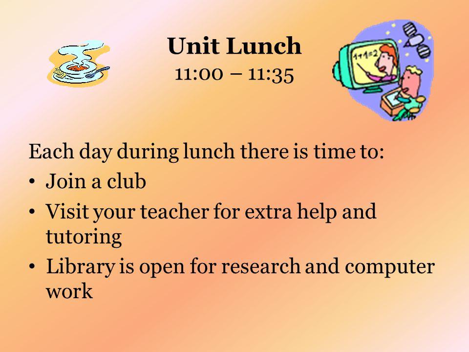 A Day at HHS Period 1 – 8:05 – 9:04 Period 2 – 9:09 – 10:02 Period 3 – 10:07 – 11:00 Unit Lunch – 11:00 – 11:35 Period 4 – 11:40 – 12:33 Period 5 – 12