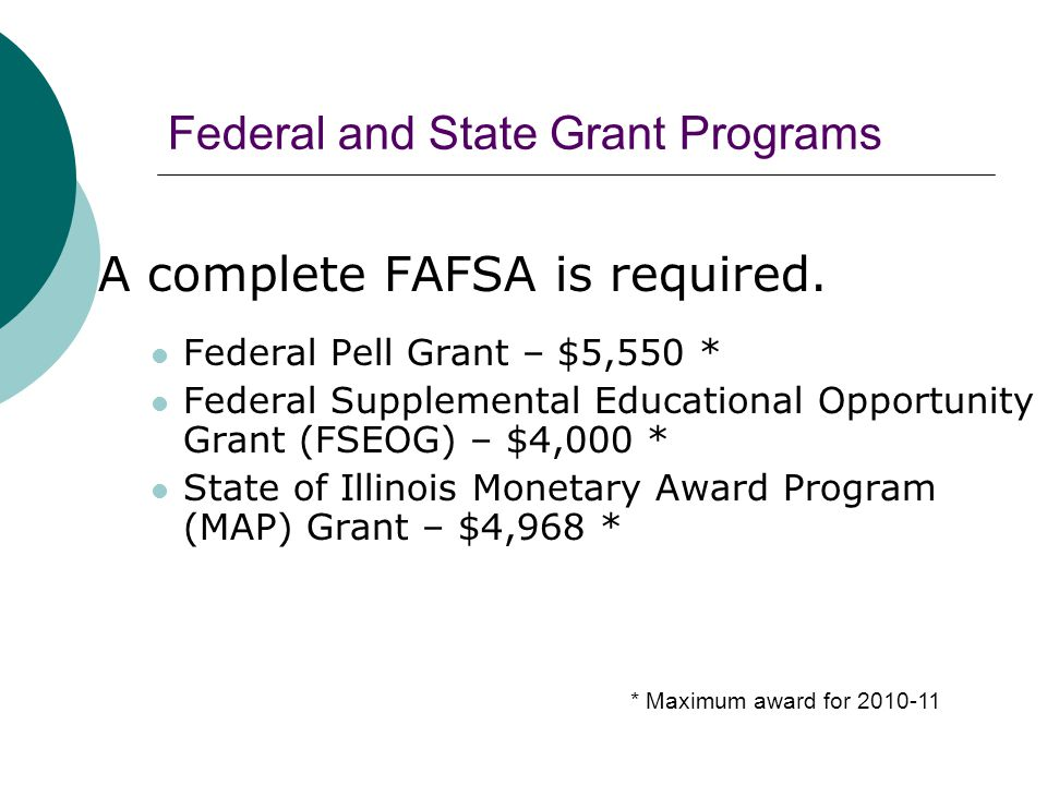 Federal and State Grant Programs A complete FAFSA is required.