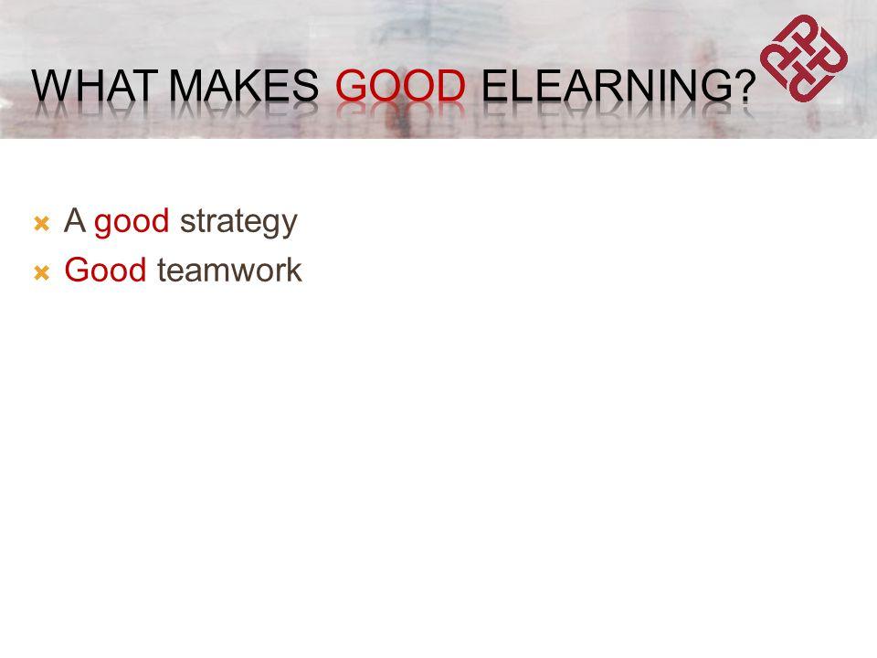  A good strategy  Good teamwork