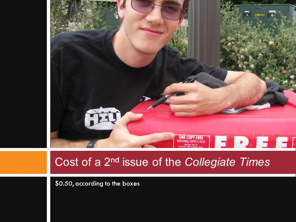 $0.50, according to the boxes Cost of a 2 nd issue of the Collegiate Times