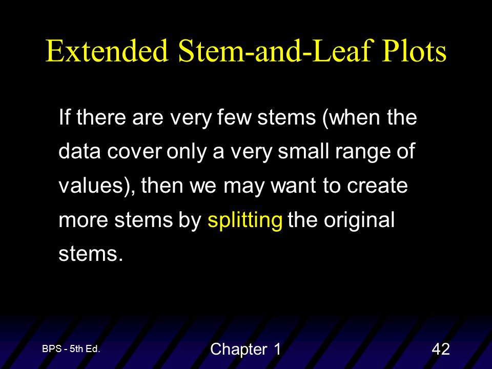 BPS - 5th Ed. Chapter 142 Extended Stem-and-Leaf Plots If there are very few stems (when the data cover only a very small range of values), then we ma