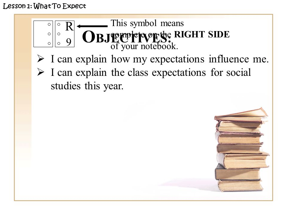 O BJECTIVES:  I can explain how my expectations influence me.  I can explain the class expectations for social studies this year. This symbol means