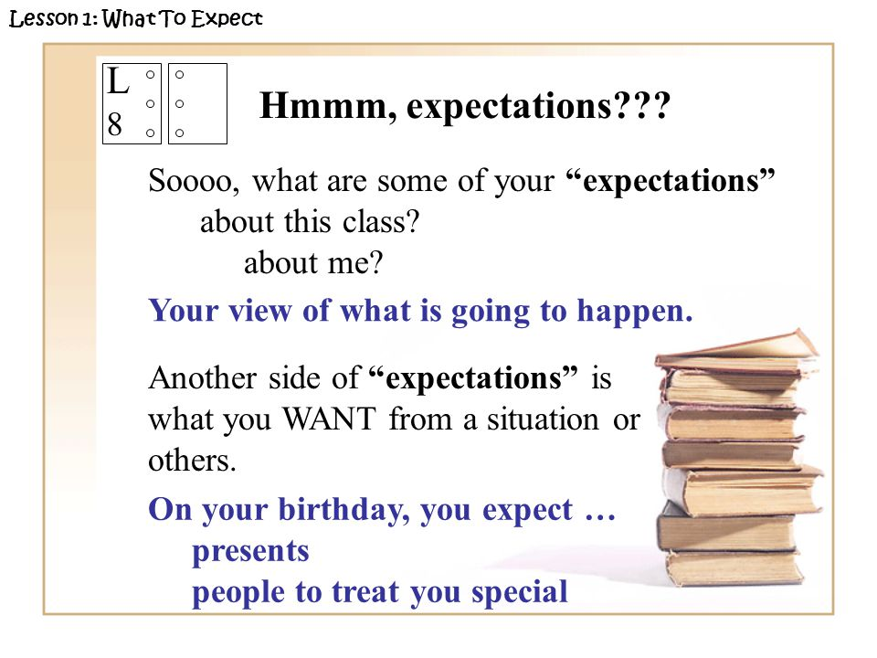"L8L8 Soooo, what are some of your ""expectations"" about this class? about me? Another side of ""expectations"" is what you WANT from a situation or other"