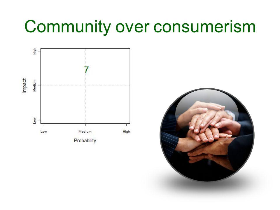 Community over consumerism