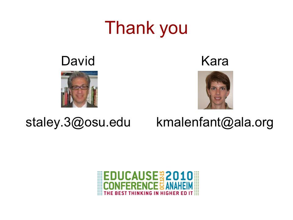 Thank you David staley.3@osu.edu Kara kmalenfant@ala.org