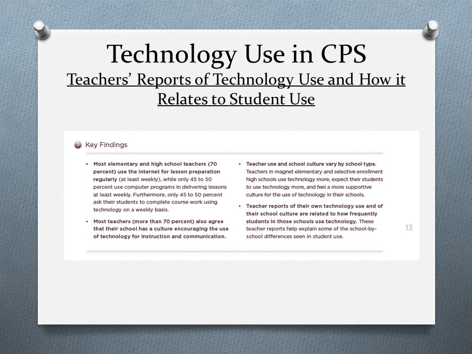Technology Use in CPS Teachers' Reports of Technology Use and How it Relates to Student Use