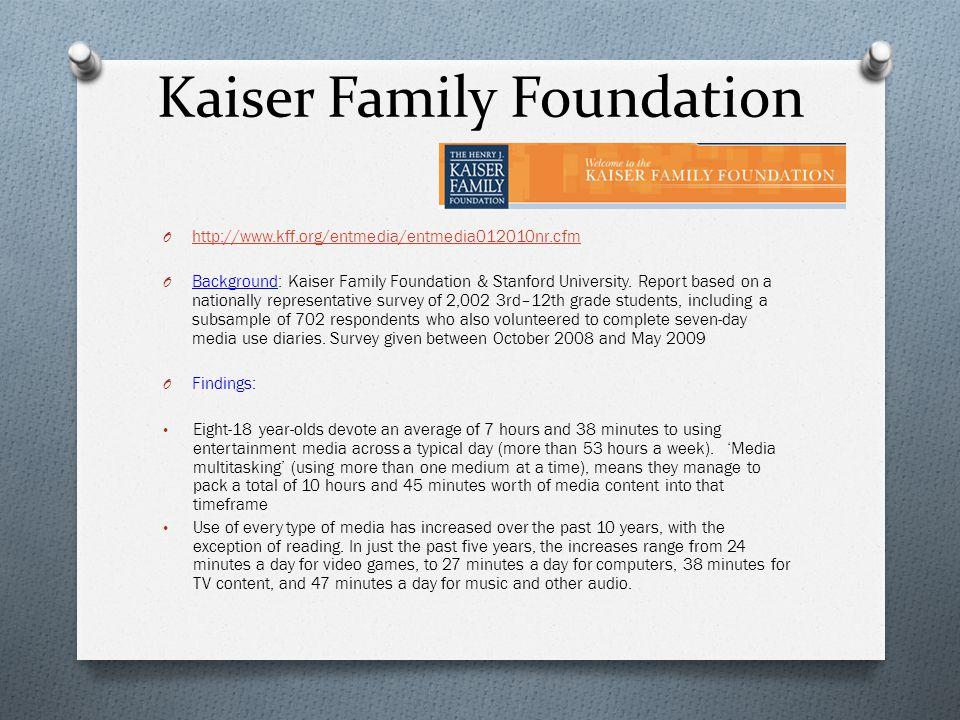 Kaiser Family Foundation O http://www.kff.org/entmedia/entmedia012010nr.cfm http://www.kff.org/entmedia/entmedia012010nr.cfm O Background: Kaiser Family Foundation & Stanford University.