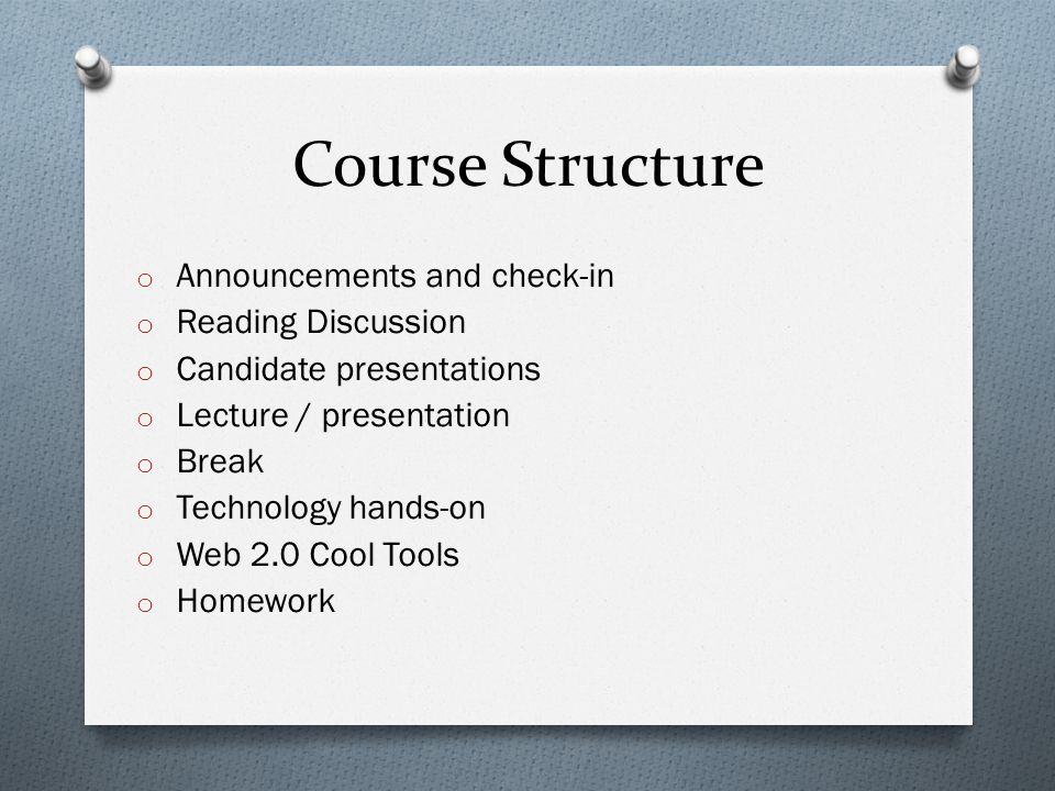Course Structure o Announcements and check-in o Reading Discussion o Candidate presentations o Lecture / presentation o Break o Technology hands-on o Web 2.0 Cool Tools o Homework