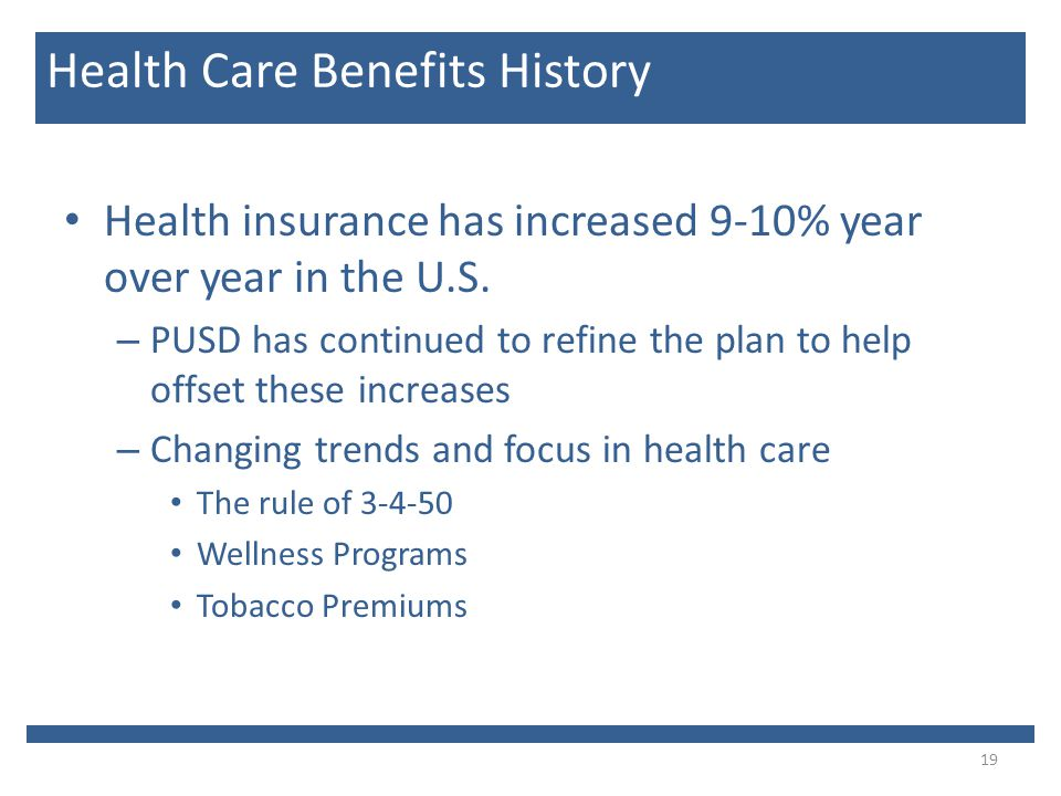 Health insurance has increased 9-10% year over year in the U.S.