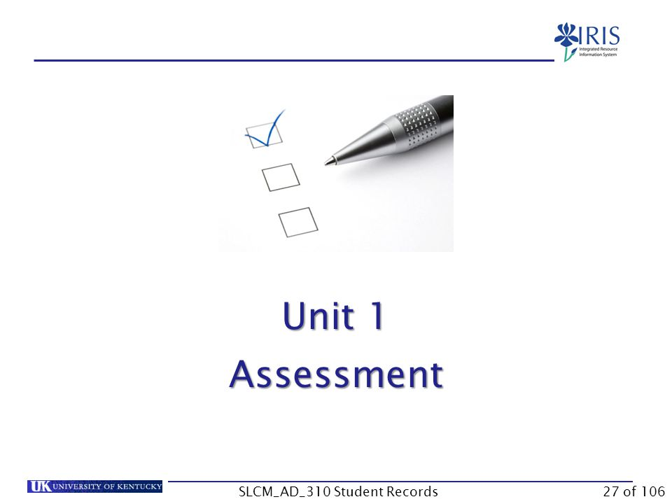 Unit 1 Assessment 27 of 106SLCM_AD_310 Student Records