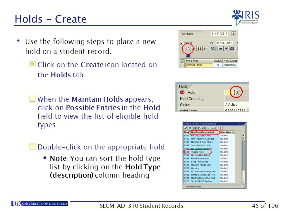 Holds - Create Use the following steps to place a new hold on a student record.  Click on the Create icon located on the Holds tab  When the Maintai