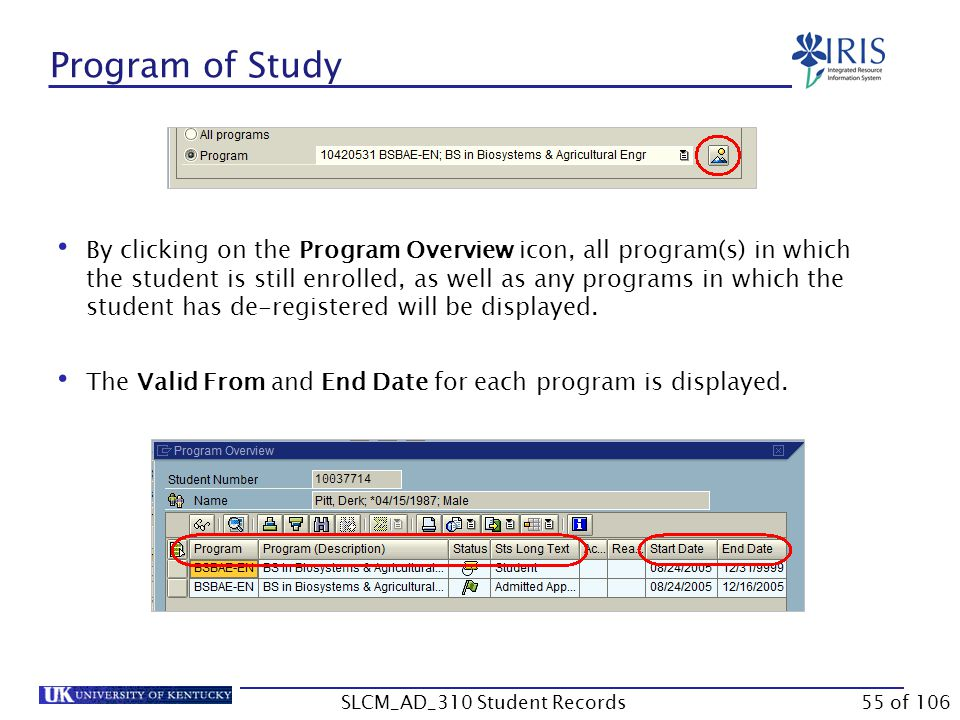 Program of Study By clicking on the Program Overview icon, all program(s) in which the student is still enrolled, as well as any programs in which the student has de-registered will be displayed.