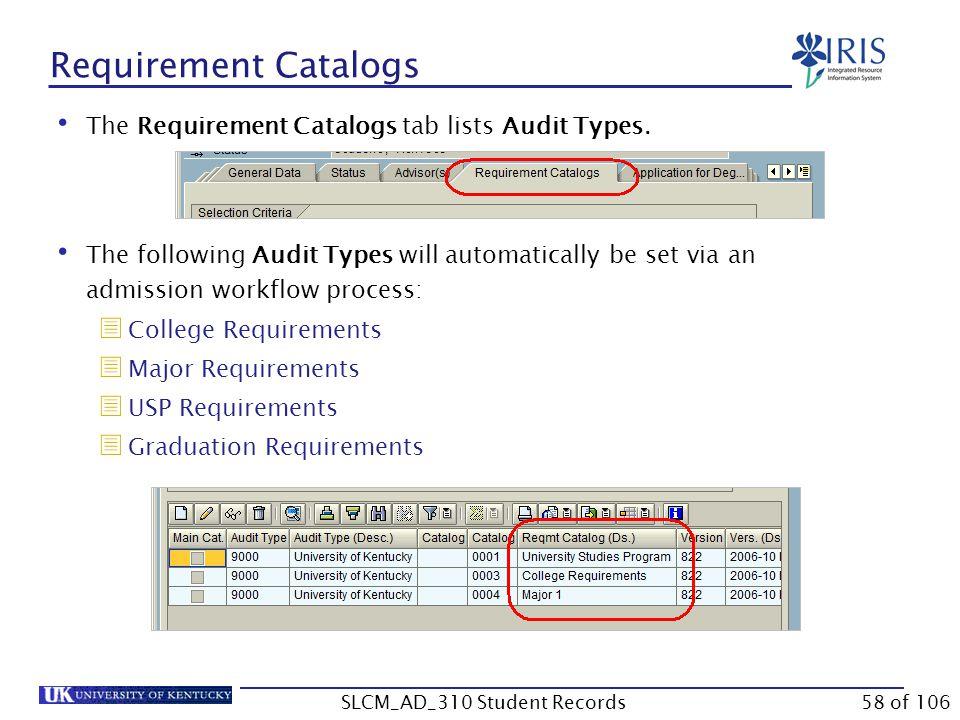 Requirement Catalogs The Requirement Catalogs tab lists Audit Types.